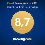 note 2017 chambre d'hôtes - booking.com